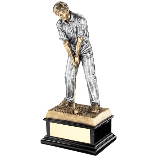 Superior trophy of a male golf figure ready to tee off. Excellent price for a quality award.