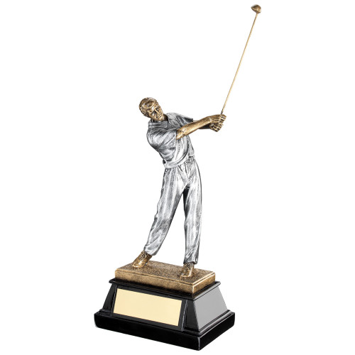 Stunning male golf player swinging a golf club. An affordable award available in 3 sizes