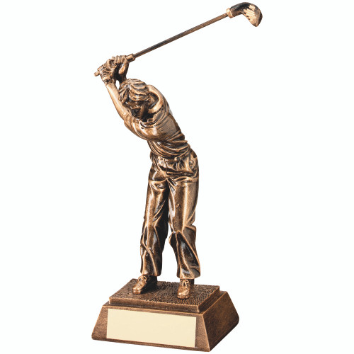 Gold high swing male golfer award. 3 Sizes at superb cheap prices