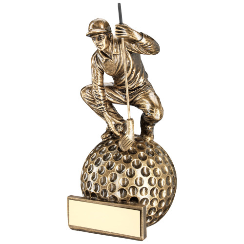 Crouching Golfer on large golf ball base award available in 3 sizes