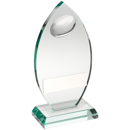 Stunning oval jade glass rugby ball award at a fantastic price