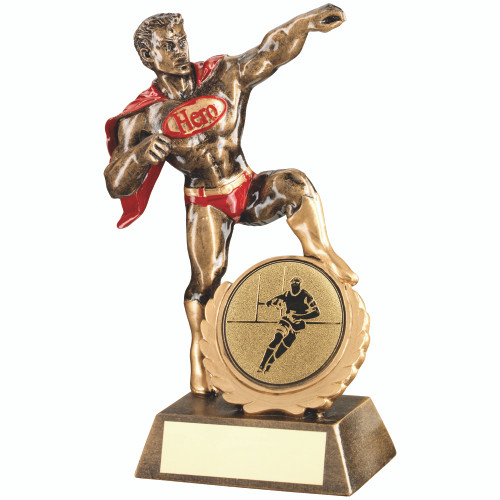 """Rugby hero novelty award with a 2"""" centre piece from 1st Place 4 Trophies"""