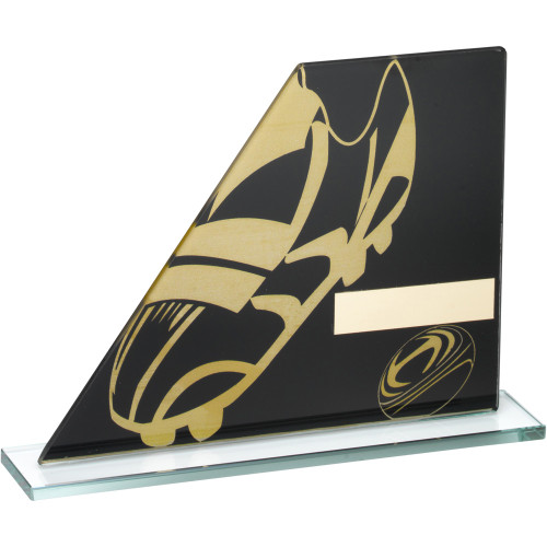 Stylish black and gold glass rugby boot and ball trophy at cheap budget prices in 3 sizes