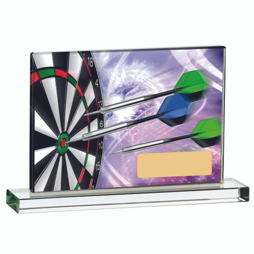 Printed glass darts plaque available in two sizes with FREE personalised engraving