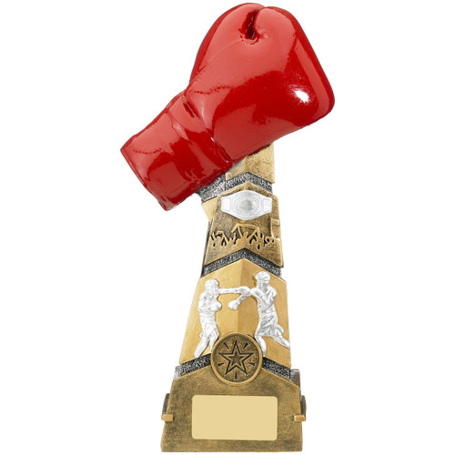 Magnificent tiered tower Boxing trophy with red glove from 1stPlace4Trophies