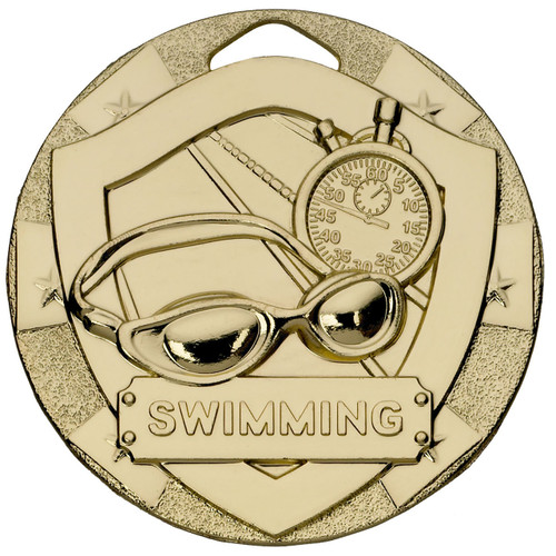 50mm Embossed Swimming Medal Award in Gold with FREE Engraving