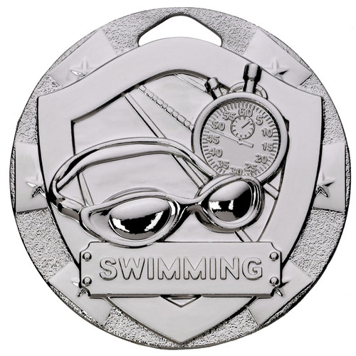50mm Embossed Swimming Medal Award in Silver with FREE Engraving