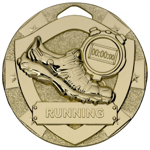 50mm Embossed Gold Running Athletics Medal with FREE Engraving
