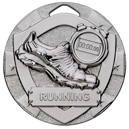 50mm Embossed Silver Running Athletics Medal with FREE Engraving