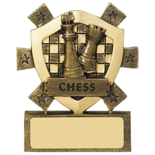Chessboard and piece Star shield budget Award. Very CHEAP from 1stPlace4Trophies