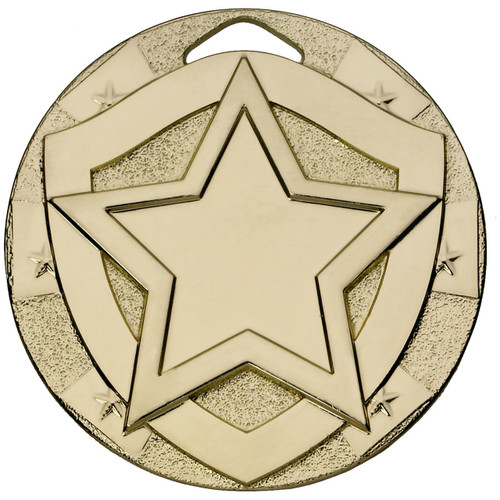Gold 50mm embossed Achievement Medal with FREE ENGRAVING