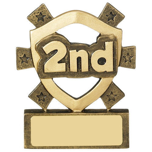 2nd Place mini budget trophy. Excellent value award  for any place events PLUS FREE engraving!