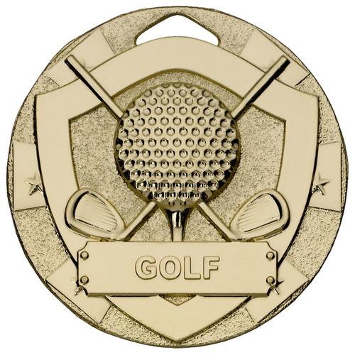 50mm embossed gold Golf medal available in Gold Silver and Bronze PLUS Free engraving!