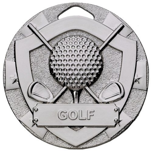 50mm embossed silver Golf medal available in Gold Silver and Bronze PLUS Free engraving!