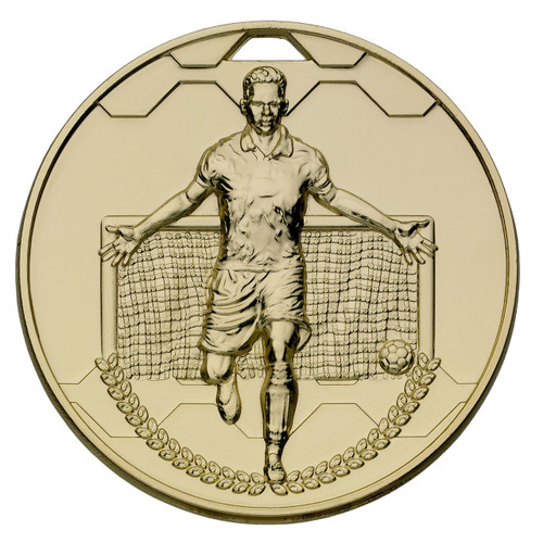 60mm Gold Football sports die-cast medal with FREE engraving