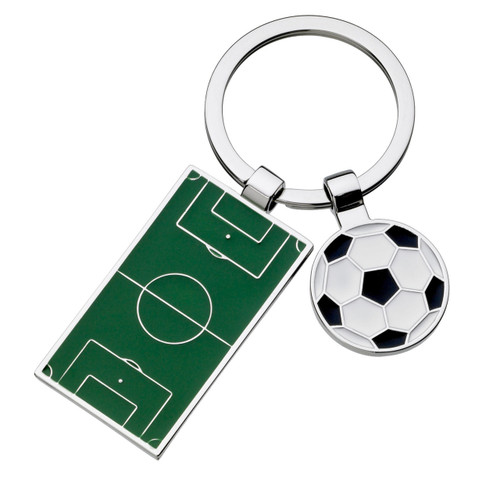 The ideal football fanatic gift. A great value budget cheap pitch and ball keyring that includes FREE box AND engraving!