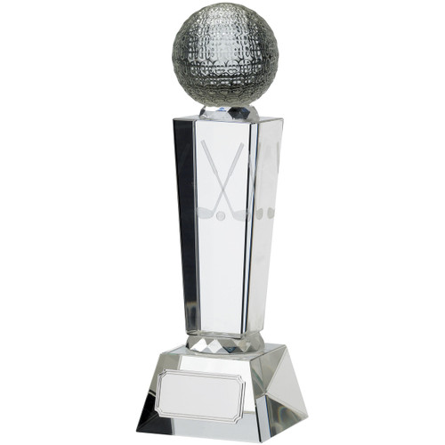 3D laser engraved optic crystal glass golf trophy available in 3 sizes and includes FREE silk lined presentation box