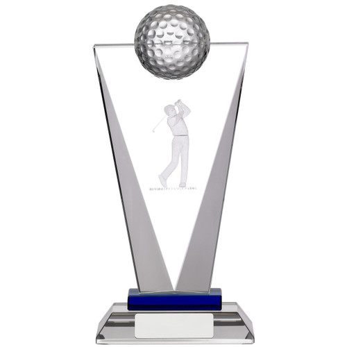 Pinnacle optic crystal glass laser engraved golf trophy available in 3 sizes and includes a FREE silk lined presentation box