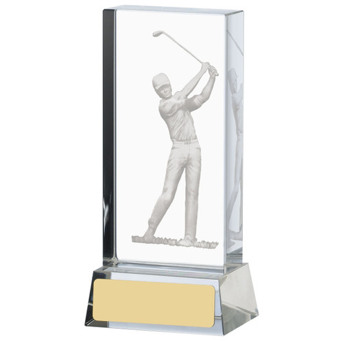 Optic crystal Glass Golf trophy with 3D swinging golfer image. This award is available in 3 sizes and includes a FREE silk lined presentation box.