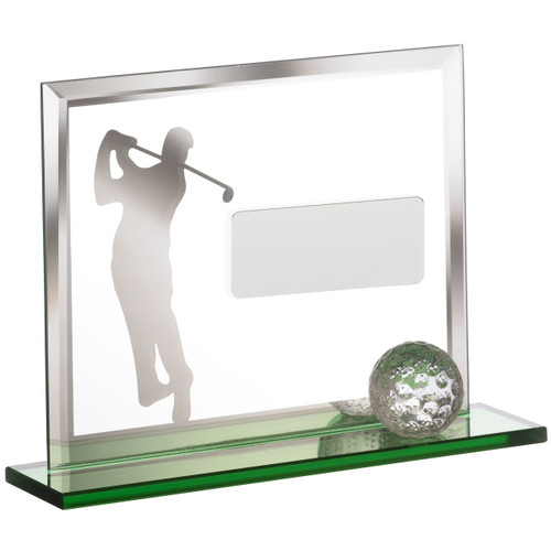 Clear Glass self standing golf award with a full 3D silver golf ball on the jade glass base. FREE engraving.