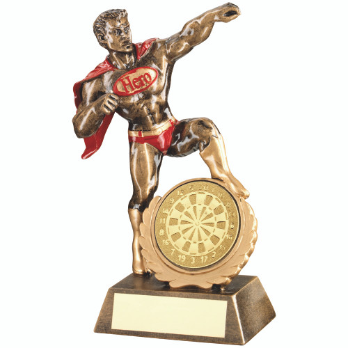 """Darts Hero novelty Award that takes a 2"""" centre . Available with FREE engraving."""