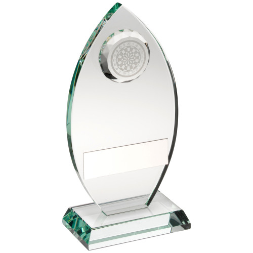 Stunning oval jade glass darts award with 3D dartboard available at a fantastic price with FREE engraving.