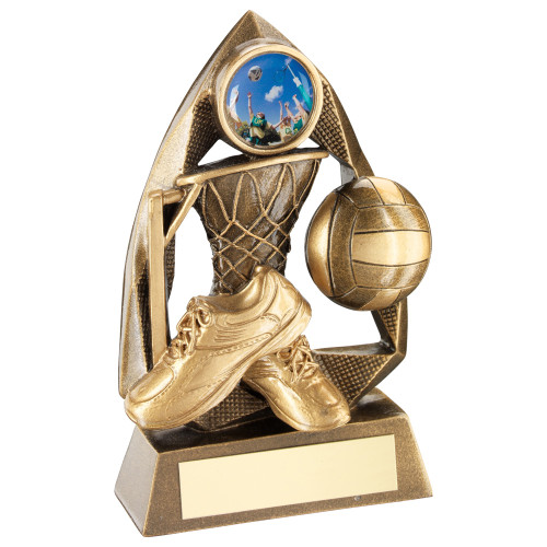 Gold Netball Award available in 2 sizes with FREE personalised engraving