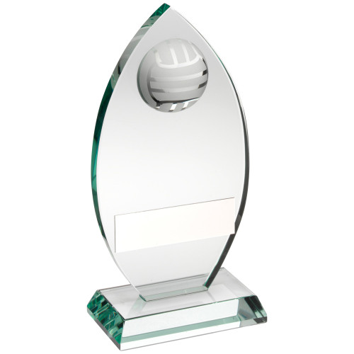 Stunning oval jade glass Volleyball trophy.  The perfect team, match or player award that includes FREE engraving