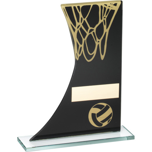 Black and gold glass side curved Netball Award that includes FREE personalised engraving.