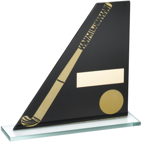 Budget priced black and gold glass hockey trophy available with FREE personalised engraving