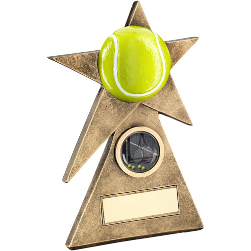 Pyramid Star Yellow Tennis ball award available in 3 fantastic sizes and includes FREE engraving.