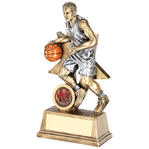 Resin basketball player figure trophy. 2 sizes at excellent prices and FREE personalised engraving included too!