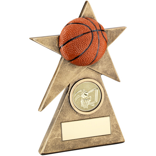 Pyramid Star 3D orange basketball award available in 3 sizes and includes FREE personalised engraving