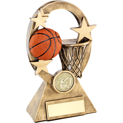 Oval Star Basketball Award available in 2 sizes and includes FREE personalised engraving and standard centre.