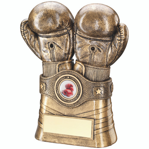 Antique gold boxing gloves and belt trophy available in 2 sizes with FREE engraving for this superb award.
