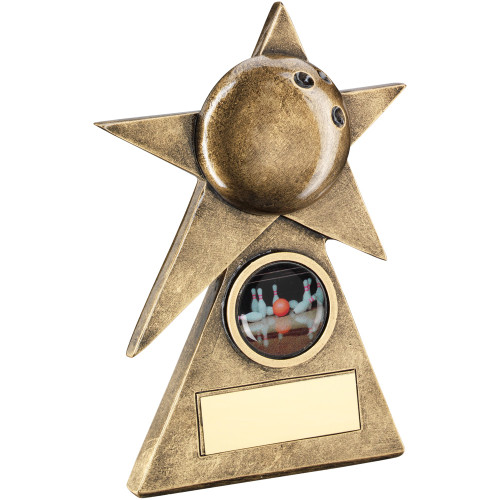 Ten Pin Bowling pyramid star award available in 3 sizes and includes FREE engraving.