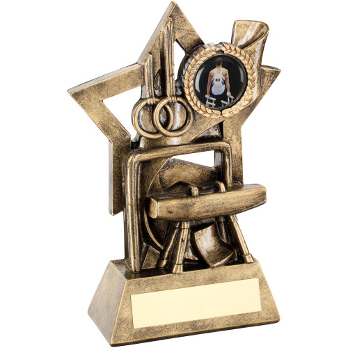 Gymnastics Discipline antique gold star award that includes FREE engraving from 1st Place 4 Trophies.