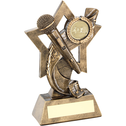 Stunning Music Microphone & Notes Star trophy to celebrate musical brilliance.