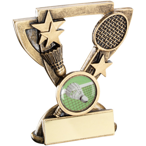 Badminton Shuttlecock and racket cup star budget award in 2 sizes.