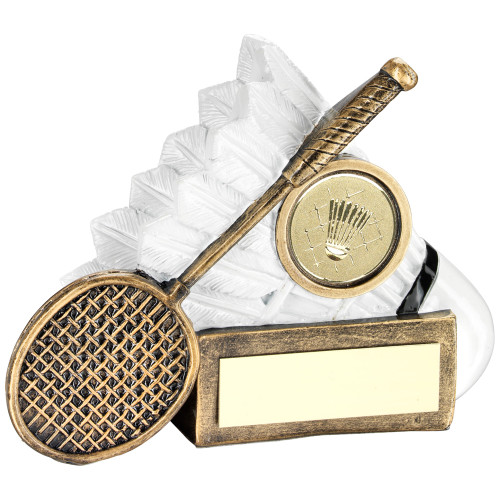 Stunning white shuttlecock and gold racket badminton trophy. FREE engraving included.