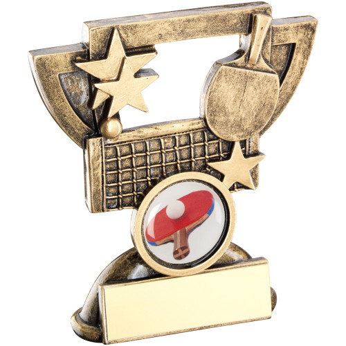 Table Tennis Cup Star Award with antique gold bat and net. FREE engraving is included with this trophy.