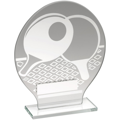 Glass and silver monochrome design table tennis award in 2 sizes with FREE engraving.