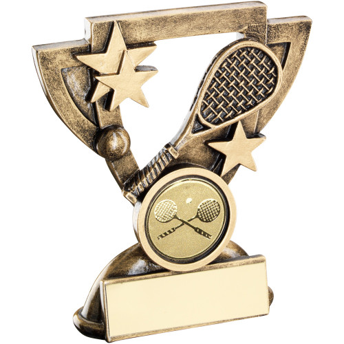 Squash racket and ball Award in a cup shaped frame. FREE engraving.