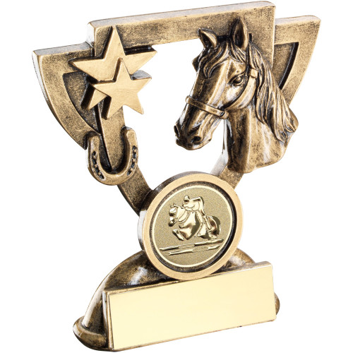 Horse head and horse shoe equestrian cup star trophy available in 2 sizes with FREE engraving.