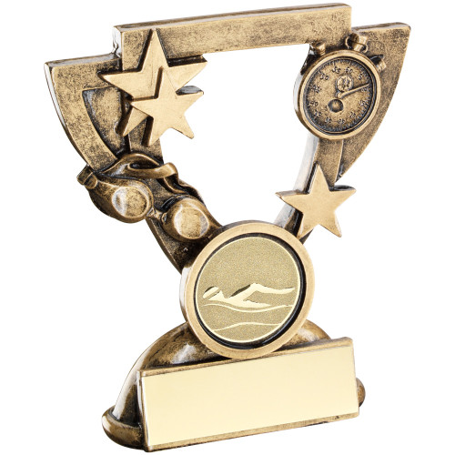 Swimming Award in a cup shaped star frame with goggles and stop clock. 2 sizes available with FREE engraving.