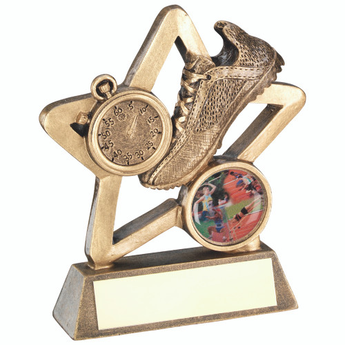 Mini gold star athletics trainer and stop watch award. FREE engraving included.