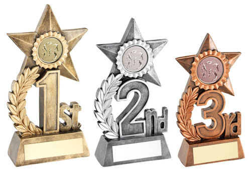 1st 2nd 3rd Place Star Awards in Gold Silver & Bronze resin. Available with FREE personalised engraving.