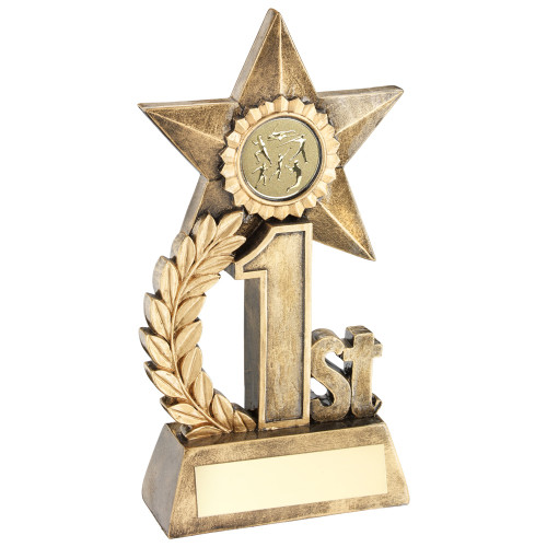 "6.25"" Gold resin 1st Place Star Trophy for Athletics, Swimming, Cycling"