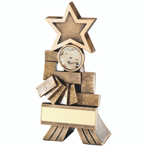 Modern Dominoes Star trophy available in 2 sizes and includes FREE personalised engraving.