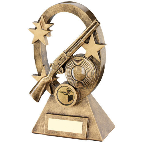 Clay Pigeon target shooting trophy available in 2 sizes and includes FREE engraving.